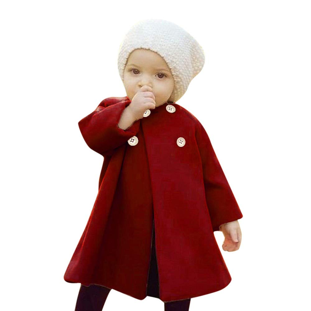 Birdfly Adorable Infant Baby Woolen Coat 6M-5T Toddler Kid Girl Solid Button Down Outwear