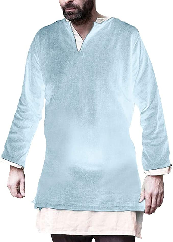Mens Baggy Cotton Linen Polo Shirts Long Sleeve Casual Solid Muscle Tee T-Shirt Tops Blouse Pullover Jumper Sweatshirts