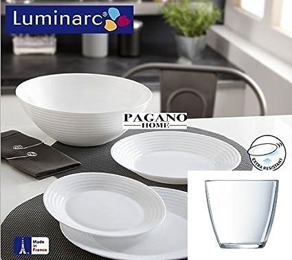 Servizio piatti x 12 persone con bicchieri Luminarc 48 pezzi mod ...
