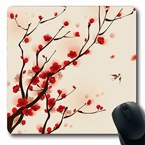 Ahawoso Mousepads Oriental Style Painting Plum Blossom in Spring Oblong Shape 7.9 x 9.5 Inches Oblong Gaming Mouse Pad Non-Slip Rubber Mat