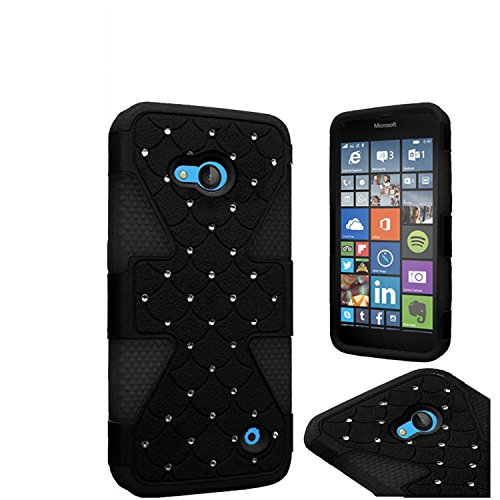 Pear Faceplate (HR Wireless Cell Phone Case for NOKIA Lumia 640 - Retail Packaging - Black/Black)