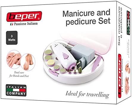 BEPER 40.968 Set MANICURA Y PEDICURA Recargable, ABS, Blanco/Rosa