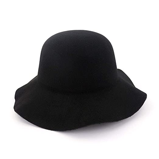 b01d6116 HUPLUE Women's Wool Wide Brimmed Hat Dome Felt Floppy Hat Vintage ...
