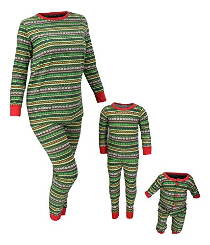 Unique Baby Adult Christmas Family Pajama Set Daddy Mommy and Me (XXL, Green) -