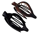 Parcelona French 2 Pieces Wide Beak Celluloid Tortoise Shell and Black Side Slide In Jaw Hair Claw Clip Clamp Clutcher