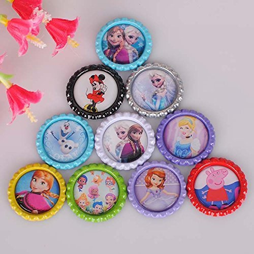 10pcs/lot Anna Elsa Sofia Minnie Princess Cartoon Pattern Flattened Bottle Caps Diy Hair Bows Hair Accessories Flatback Resins (Princess Bottle Cap Necklace)