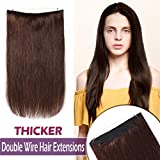 18 Inch Human Hair Hidden Wire Extensions Thicker Secret Fish Line Extensions Long Straight No Clips No Glue Hairpieces Invisible Fish Line in 100g #2 Dark Brown