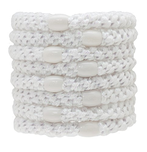 L. Erickson Grab & Go Ponytail Holders, White Metallic, Set of Eight - Exceptionally Secure with Gentle Hold