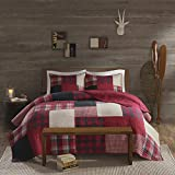 Woolrich Sunset King/Cal King Size Quilt Bedding Set - Red, Plaid – 3 Piece Bedding Quilt Coverlets – Cotton Bed Quilts Quilted Coverlet