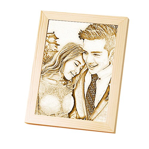 photo Frame Carved on the board Wedding birthday present Customize Christmas gift (Bracket 6) by JEYKAY (Image #3)