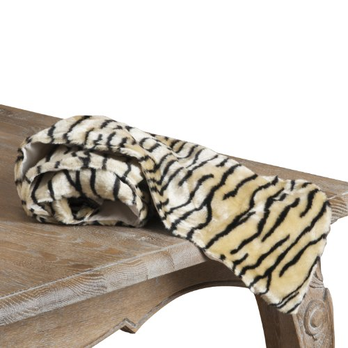 SARO LIFESTYLE 8101 Tiger Print Hexagon Table Runner, 13 by 72-Inch, Ivory