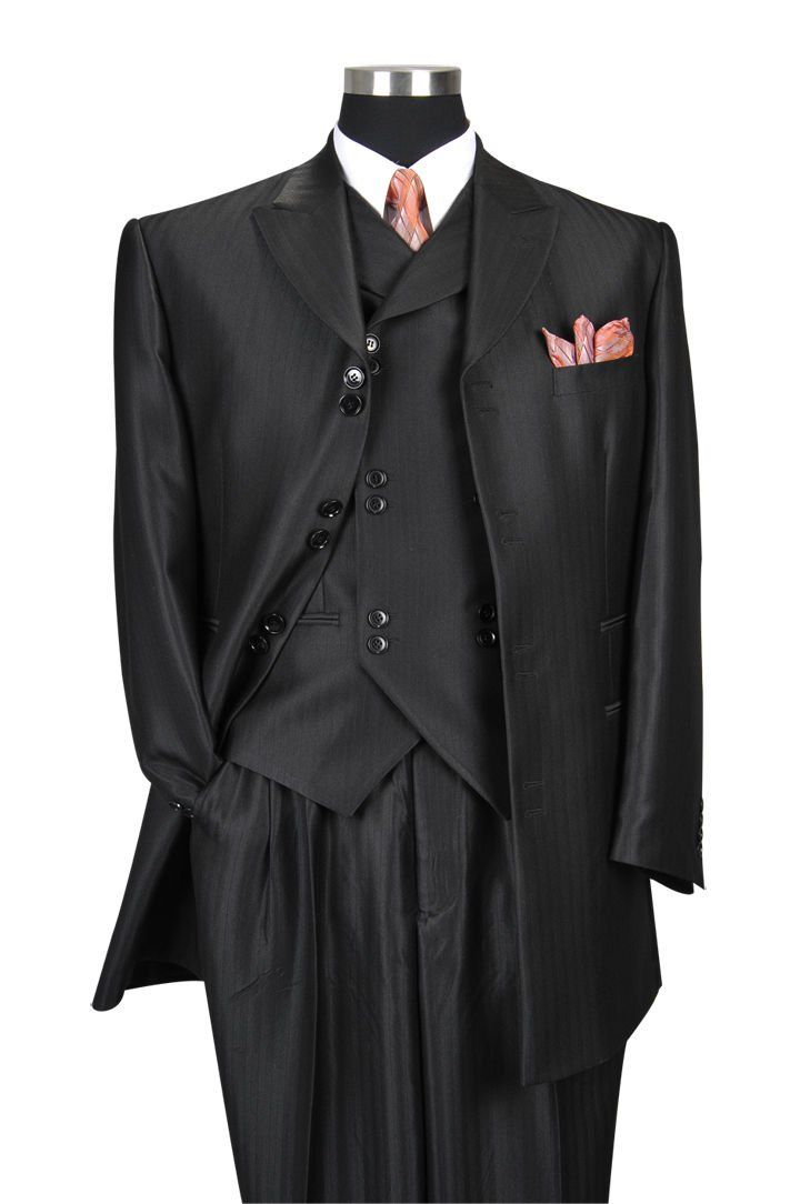 Milano Moda Herring Bone Stripe Fashion Suit with Vest & Pants 5264 Bk-56R