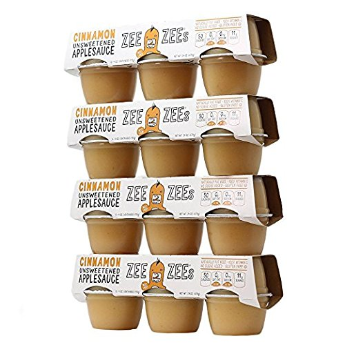 (Zee Zees Unsweetened Cinnamon Applesauce Cups, All Natural, No Sugar Added, 4 oz Cups, 24 pack)