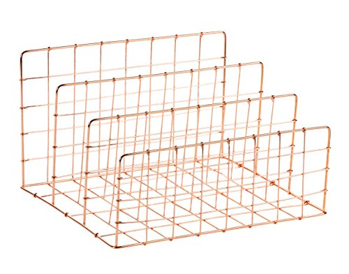 Desktop File Organizer - 3 Vertical Compartments Wire Metal Mesh Organizer, Letter Mail Sorter, Rose Gold, 11.6 x 6.75 x 9.2 inches by Juvale