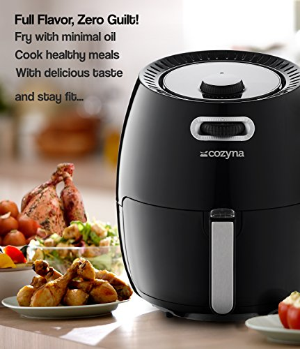 Air Fryer XL by Cozyna (5.8QT) with airfryer cookbook (over 50 recipes) and a basket divider