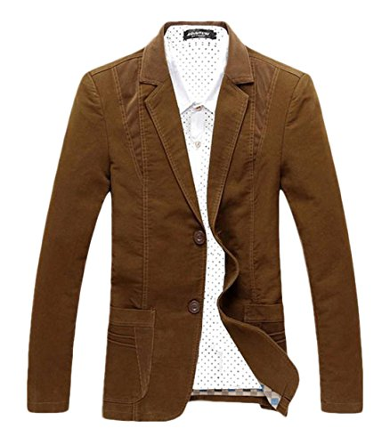 Chartou Men's Casual Western-Style Lightweight Slim Two-Buttons Cotton Suit Blazers Jacket (Large, - Brown Blazer