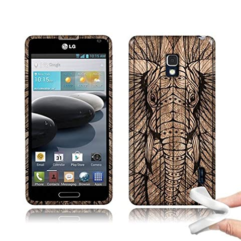 4square LG Optimus F6 D500 MS500 Flexible Slim Silicone TPU Skin Gel Soft Protector Cover Case - Elephant Head A4square ZTEc Wooden With Free Stylus (Lg F6 Silicone Case)
