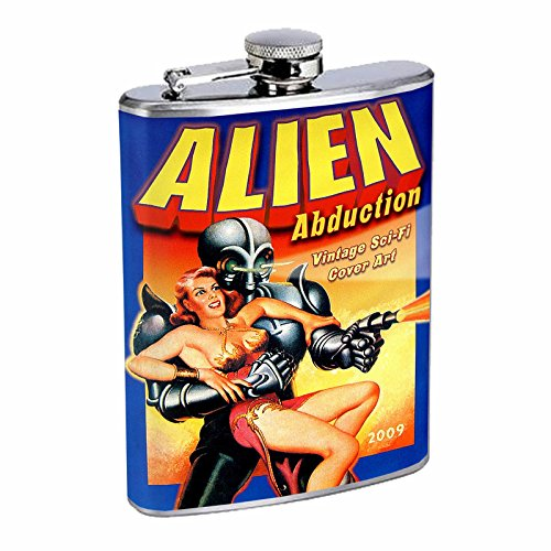Stainless Steel 8oz Hip Silver Flask Retro Alien Abduction S1 Space Invaders Paranormal by American Empire