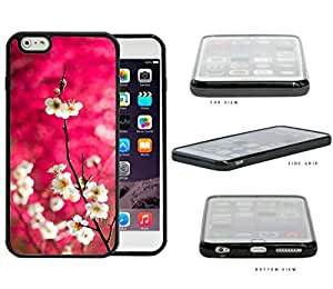 Dark Pink Background White Cherry Blossom Flowers iPhone 6 PLUS (5.5) INCH SCREEN Rubber Silicone TPU Cell Phone Case