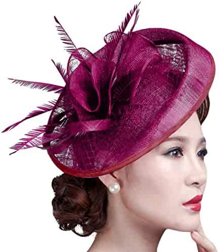 2d40032e9bc Fascigirl Party Fascinator Hair Clip Pillbox Hat Cocktail Kentucky Derby Hat  for Ladies