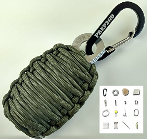 Paracord Survival Grenade EDC Kit | Ultimate Emergency (25pc) Military Grade Wilderness Prepper Gear Camping Hiking Hunting. Moms Feel Safe! Your Kids can get Food, Fire & Shelter When Lost