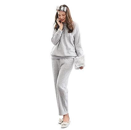 SEX Pijamas de mujer Franela de invierno Cuello redondo lindo de calor Casual y cómodo Chandal