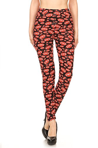 Women's PLUS Rugby Ball Pattern Printed Leggings - Black Red Football by Expert Design