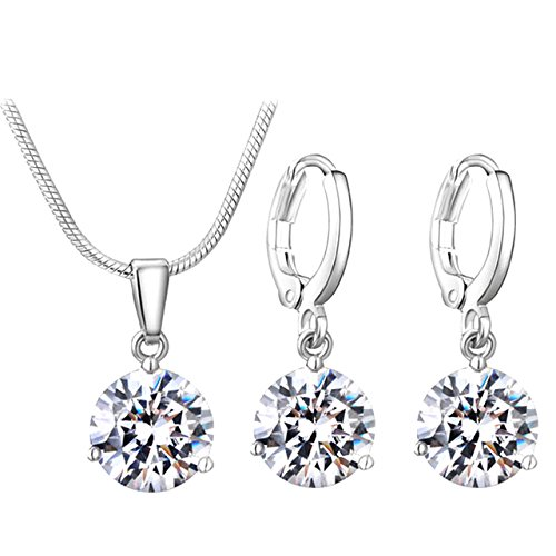 Buy Felvy Platinum Plated Swarovski Elements Crystal Necklace Pendant And  Earrings For Woman Online at Low Prices in India  2c7218cad