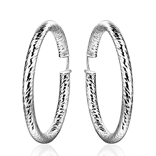 5mm Wide Round Creole Big Hoop Earrings for Women Silver Plated Round Earrings Hiphop European by ptk12