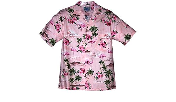 RJC - Camisa hawaiana de flamenco rosa para hombre