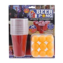 Ardisle 36pc Beer Pong Drinking Game Set Cups Balls Party Pub Gift Kit Ping American -18 BALLS 18 CUPS by Ardisle