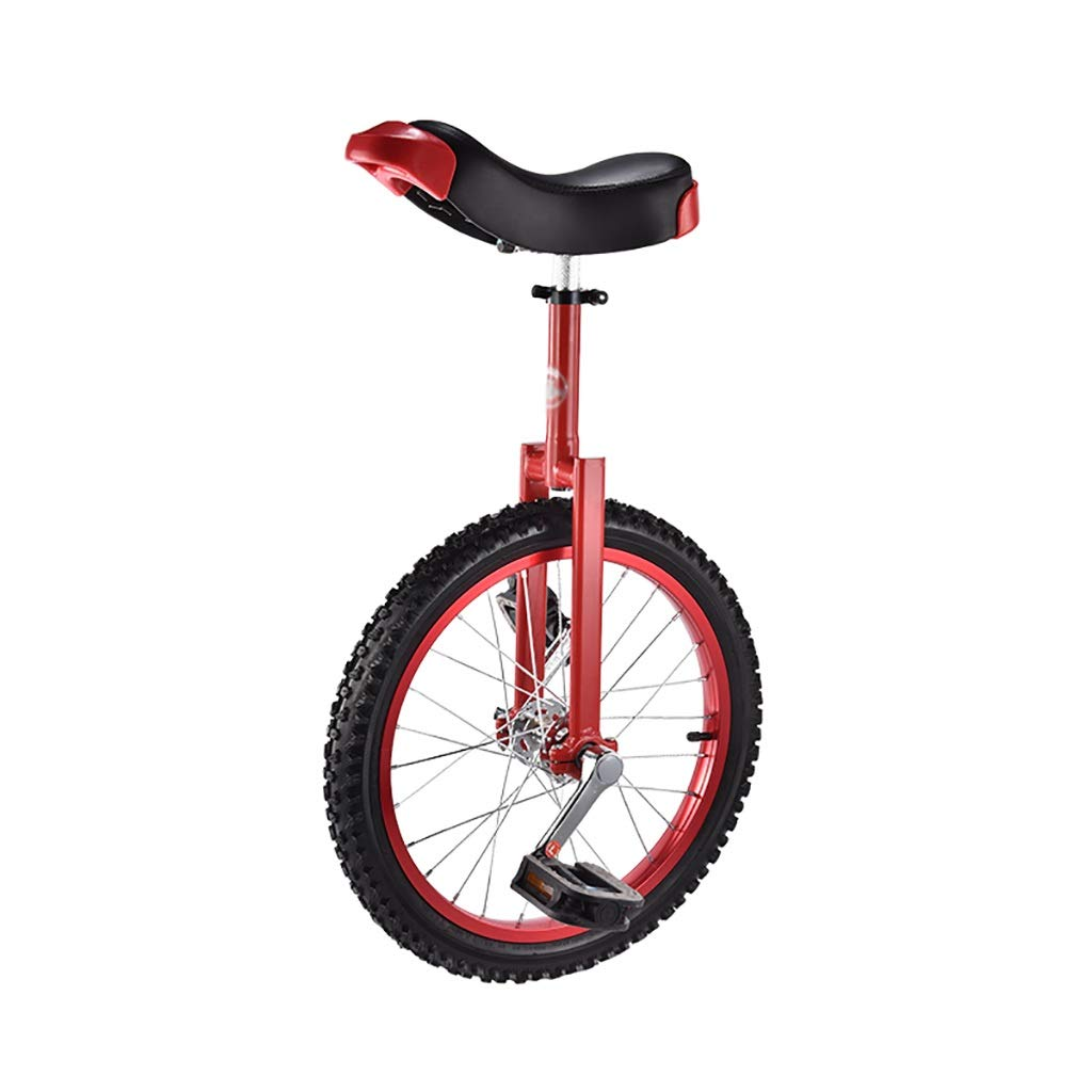 フリースタイル一輪車16/18インチシングルラウンド子供の大人の調節可能な高さバランスサイクリングエクササイズ複数色 (色 : Red, サイズ さいず : 18 inch) 18 inch Red B07PRW7MQ1
