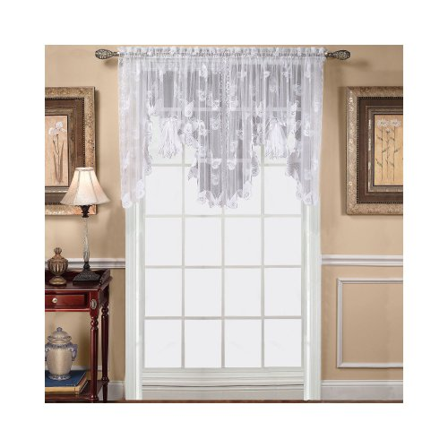 Curtain Swag 38' (Butterfly Lace 56 wide x 38 long Swag in White)