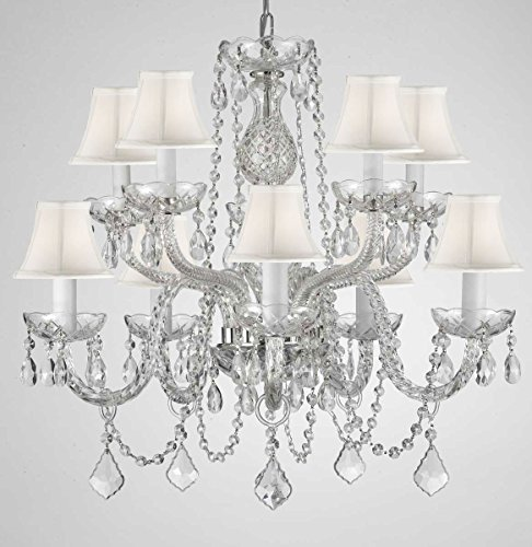 EMPRESS CRYSTAL (tm) CHANDELIER CHANDELIERS LIGHTING WITH WHITE SHADES H 25