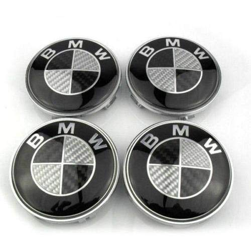 5adec8c9d33 RPOEnterprise Black   Silver Carbon Wheel Center Caps Set of 4 Size 68mm  Standard Fit for Most Models BMW hub ...
