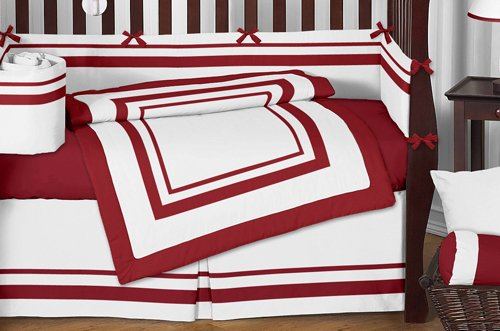 Sweet Jojo Designs 9-Piece White and Red Modern Hotel Unisex Baby Bedding Boy or Girl Crib Set