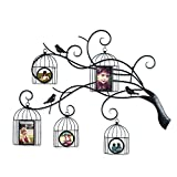 Adeco 5 Openings Decorative Collage Iron Metal Wall Hanging Family Tree Picture Frame with Bird Cages - Made to Display Two 4x6 and Three 4x4 Photos