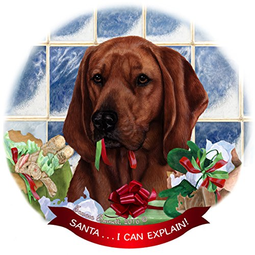 Redbone Coonhound Dog Porcelain Hanging Ornament Pet Gift 'Santa.. I Can Explain!' for Christmas Tree and Year Round (Coonhound Ornament)