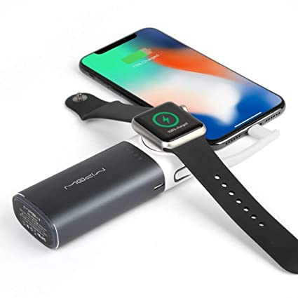 MIPOW Portable Apple Watch Charger, MFi Certified Magnetic 6000mAh Power  Bank with Built-in iPhone Fast Charging Cord Cable, Pocket-sized Battery  for