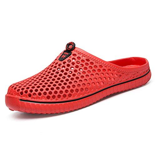 BIGU Hausschuhe Pantoffeln Atmungsaktiv Home Slipper Clogs Mesh Sommer Hohl Latschen Gartenschuhe Freizeit Badeschuhe Strand Aqua Slippers Flach Beach Wasser Schuhe Damen Herren Rot