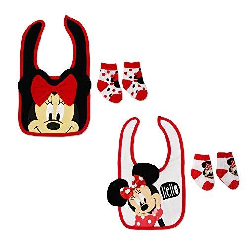 Disney Baby Girl's Minnie Mouse Cotton Dress Bib and Socks 2 Pack Bundle (Disney Baby Bib)