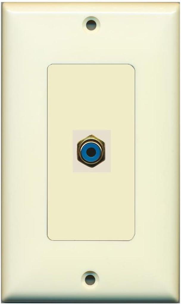 RiteAV - 1 RCA Blue for Subwoofer Audio Port Wall Plate Decorative - Light Almond
