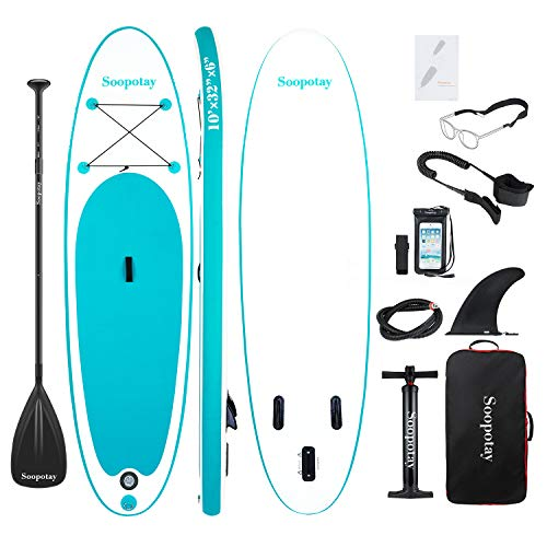 Soopotay Inflatable SUP Stand Up Paddle Board, Inflatable SUP Board, iSUP Package with All Accessories (All Round- Primary-Turquoise Green-10' x 32'' x 6'')