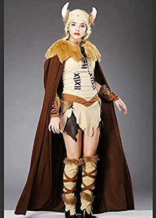 Damas adultos traje de princesa vikinga con cabo: Amazon.es ...
