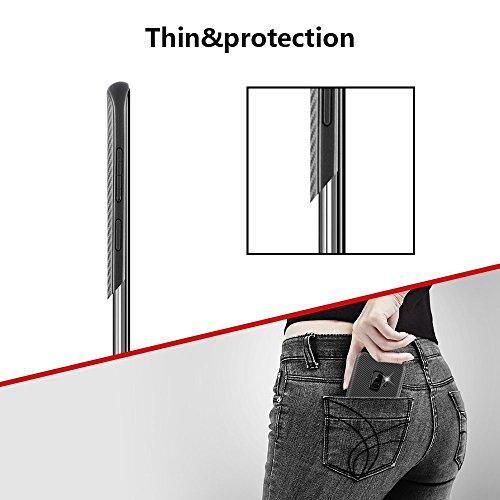 Para Samsung Galaxy S9 Plus S9 + funda, cubierta protectora TPU suave antideslizante ultra delgada con amortiguación flexible y duradera con diseño de fibra de carbono para Galaxy S9 Plus - negro para S9 Plus / S9 +
