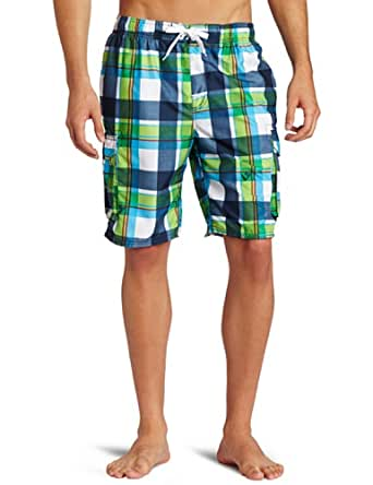 Kanu Surf Men's Epic Swim Trunk, Navy/Green, Medium