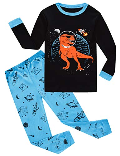 Family Feeling Dinosaur Big Boys Long Sleeve Pajamas Sets 100% Cotton Pyjamas Kids Pjs Size 12 Blue