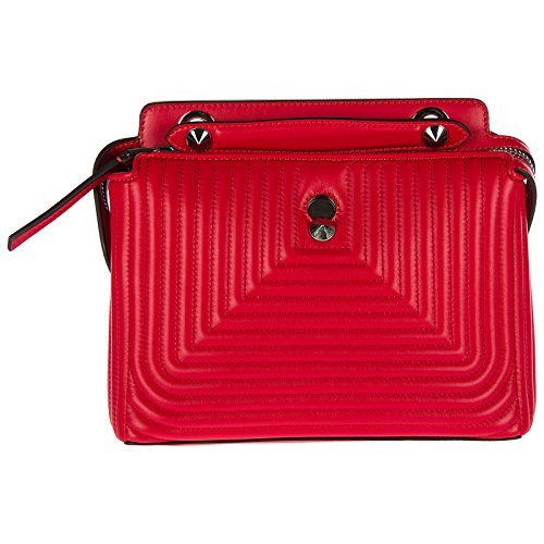 Fendi women's leather shoulder bag original dotcom nappa shiny red