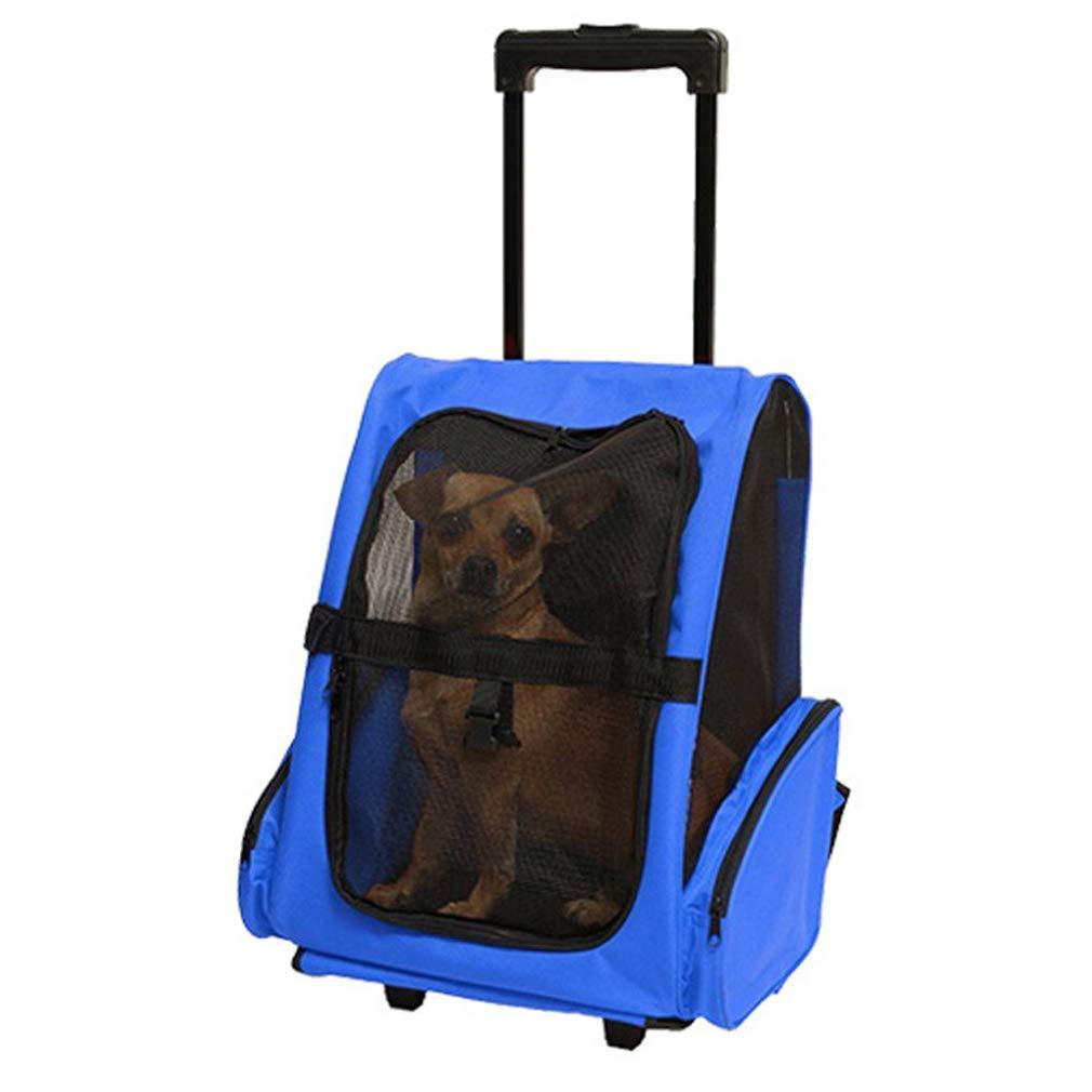 bluee Pet Trolley Teddy Outer Trolley Pack Portable Pet Travel Bag Teddy Breathable Trolley Backpack Waterproof Walking Storage Bag