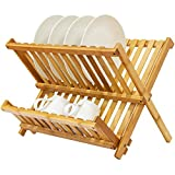 yellow dish drainer - Bamboo Folding Dish Rack, Natural Bamboo [100% Organic] 2-Tier Collapsible Dish Drying Rack; Kitchen Utensil Holder; Wooden Dish Drainer for Dish/ Plate/ Bowl/ Cup/ Pot Lid